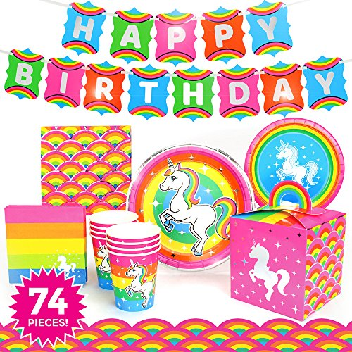 w Unicorn Premium Birthday Party Supplies (Deluxe) Pack- 74 Piece Set, Serves 8 ~ ()