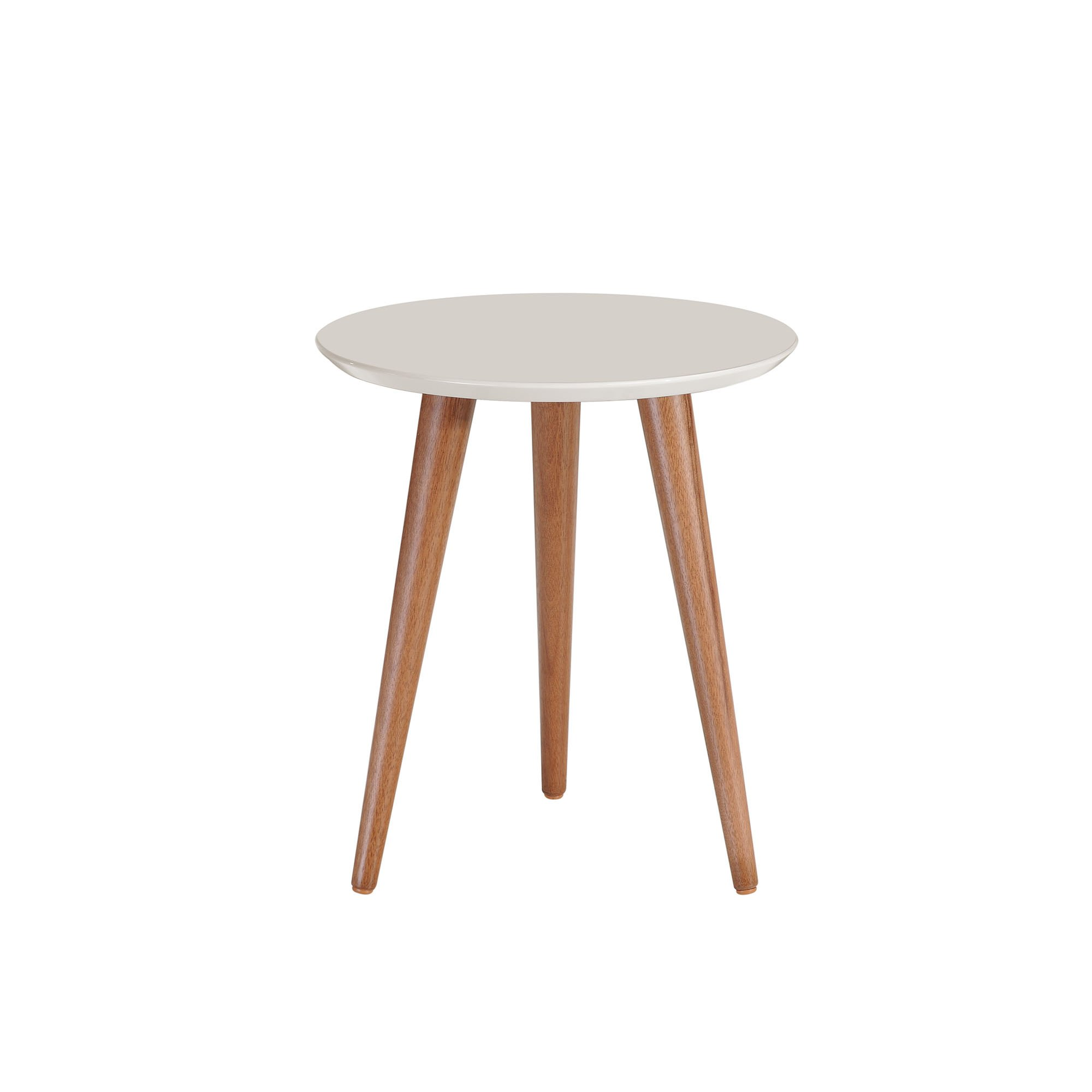 Manhattan Comfort 252152 Moore Mid-Century Modern Round End Table with Splayed Legs, Off-White