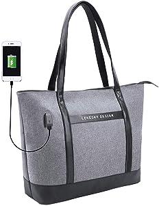 Women Laptop Tote Bag,USB Large Work Bag Purse Teacher Bag Fits 15.6 inch Laptop