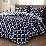 downluxe Lightweight Printed Comforter Set (Queen,Navy) with 2 Pillow Shams - 3-Piece Set - Hypoallergenic Down Alternative Reversible Comforter