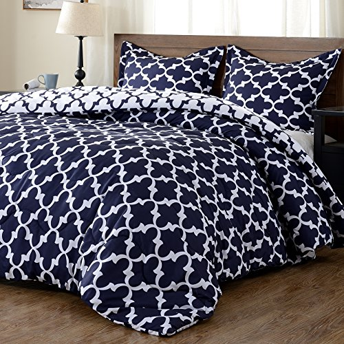 Lightweight Printed Comforter Set (King,Navy) with 2 Pillow Shams - 3-Piece Set - Hypoallergenic Down Alternative Reversible Comforter by downluxe (Pillow Comforter King Set)