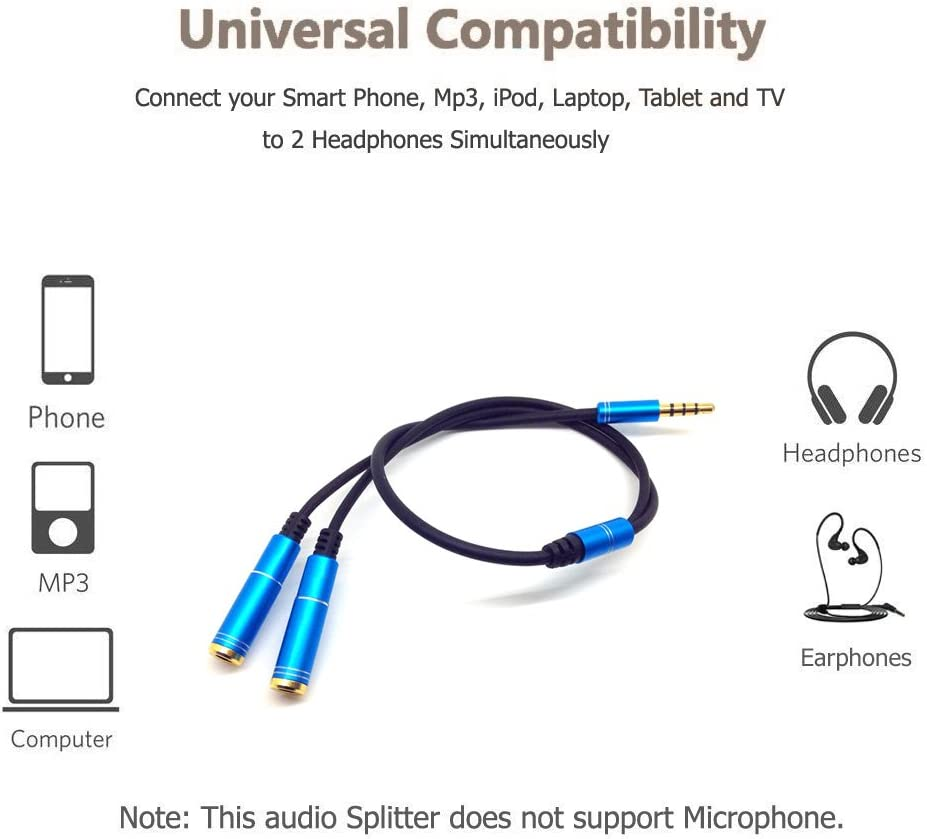 Blue Top-Longer Headphone Audio Splitter Cable Adapter 3.5mm Audio Stereo Y Splitter 3.5mm Male to 2 Port 3.5mm Female for Speaker Laptop Smartphone 30cm with Aluminum Connector