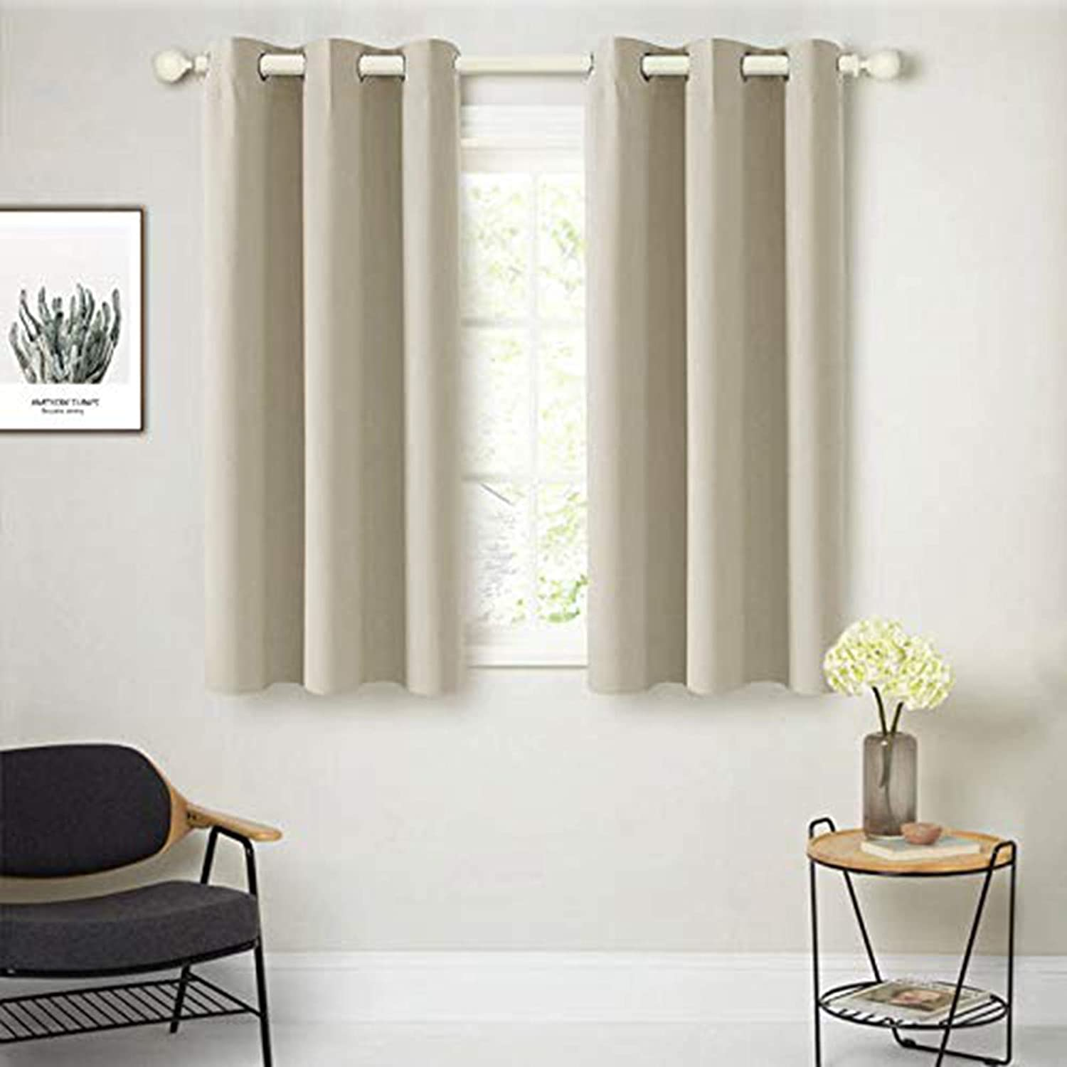 Amazon Com Cutewind Beige Little Girl Blackout Curtains For Bedroom Set 45 Inches Length Ring Top Thermal Insulted Room Darkening Window Treatments For Living Room 2 Panels W42 L45inch Beige Kitchen Dining