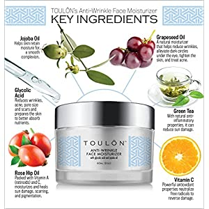 Glycolic Acid Cream 10% Face Moisturizer. Best Alpha Hydroxy Acid Products; Exfoliating, Anti-Aging Wrinkle Cream with AHA for Acne Prone Skin; Natural Exfoliator for Day and Night