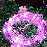 YIWULA LED Solar Rainbow Tube Light String Christmas Decoration (pink)