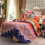 Limited Time Offer on 100% Cotton 3-Piece Rich Printed Boho Quilt Set.