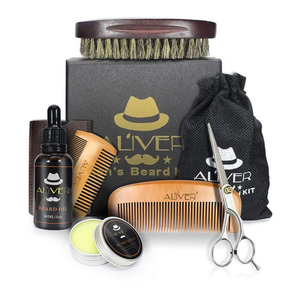 KOBWA Beard Grooming & Trimming Kit for Men Beard Care - Beard Oil, Beard Balm, Beard Brush, Beard Scissors & Wooden Beard Comb with Gift Box for Beard and Mustache Styling, Shaping, Grooming & Growth
