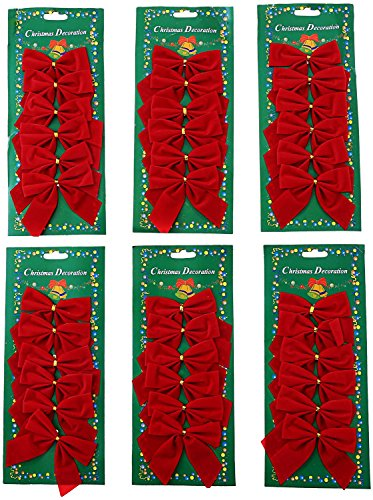 36 Pcs Red Christmas Bows Christmas Tree Decoration Hanging Mini Bowknot Red Bow Christmas Decorations