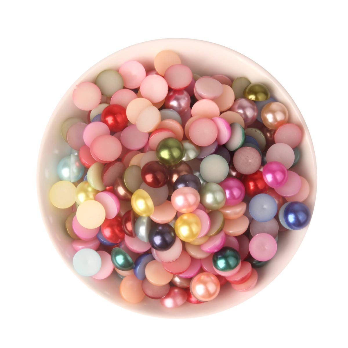 1100pcs ABS Gradient Imitation Pearls Half Round Pearls Assorted Mixed Sizes 3//4//5//6//8mm Flatback Pearl Beads DIY Material Style 1