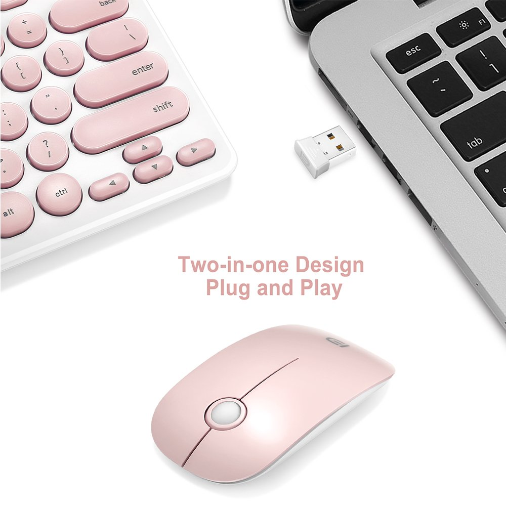 Wireless Keyboard and Mouse Combo, FD iK6620 2.4GHz New Cordless Cute Round Key Set 78-Key Compact Keyboard Smart Power-saving Quiet Slim Combo for Laptop, Computer and Mac (Salmon Pink & White) by FD (Image #9)