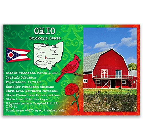 OHIO STATE FACTS postcard set of 20 identical postcards. Post cards with OH facts and state symbols. Made in (Ohio Post Office)