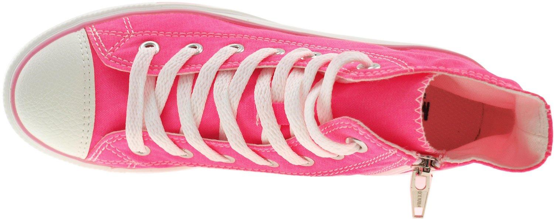 Maxstar Women's 7H Zipper Low Wedge Heel Sneakers Pink B00XOZWGX2 6.5 B(M) US|Neon Pink Sneakers fb724c