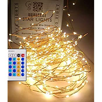 led fairy lights with remote control dimmable 33ft warm white leds on - Christmas Light Dimmer