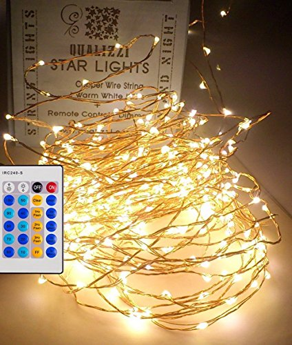 Elegant Christmas Decorating Ideas - Led Fairy Lights With Remote Control / Dimmable (33ft), Warm White LEDs On Copper Wire. Indoor Outdoor String Lights