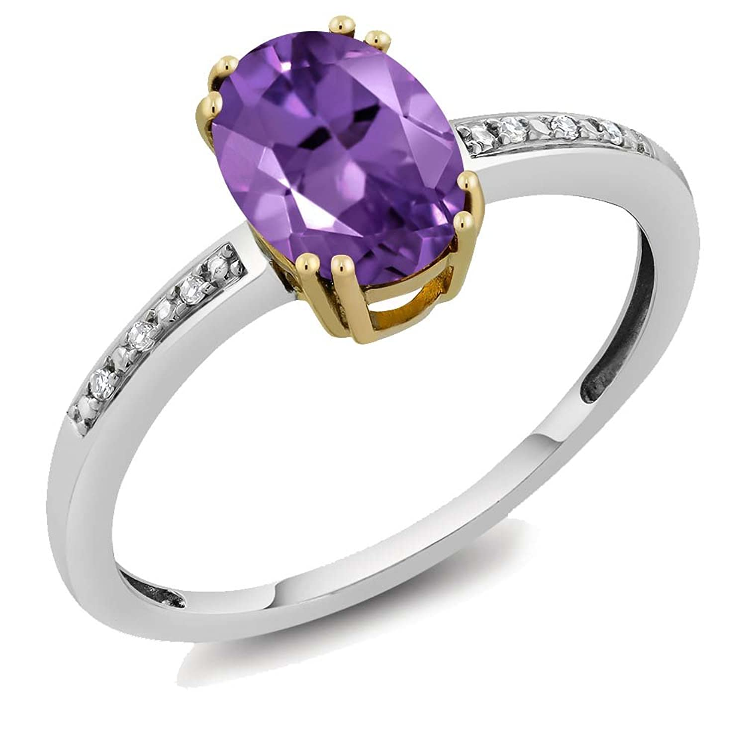 10K Solid White & Yellow Gold Genuine Purple Amethyst & White Diamond 2-Tone Women's Engagement Ring (1.00 cttw, Available in size 5, 6, 7, 8, 9)