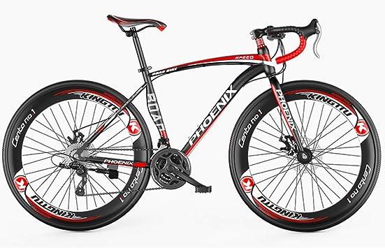 26in adulto bicicleta de carretera, Hombres Bicicleta de carreras con doble freno de disco, de alto carbono marco de acero camino de la bicicleta, Ciudad de Utilidad bicicletas, 27 de velocidad,Rojo: Amazon.es: