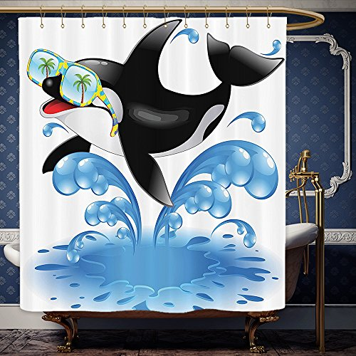 Wanranhome Custom-made shower curtain FunnySummer Holiday Ocean Cute Jumping Killer Whale with Sunglasses Cartoon Animal Love Black Blue For Bathroom Decoration 66 x 72 - Review Warehouse Sunglasses