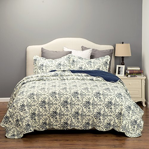 Flowers Quilt Coverlet Set King Size(106\