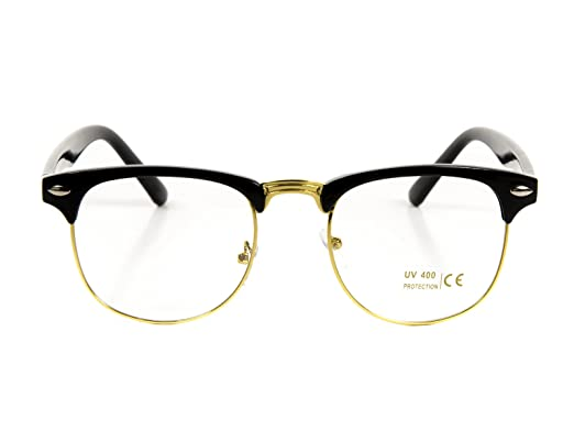 black and gold clubmaster sunglasses  Amazon.com: Goson Classic Black Gold Frame/Clear Lens Horned Rim ...