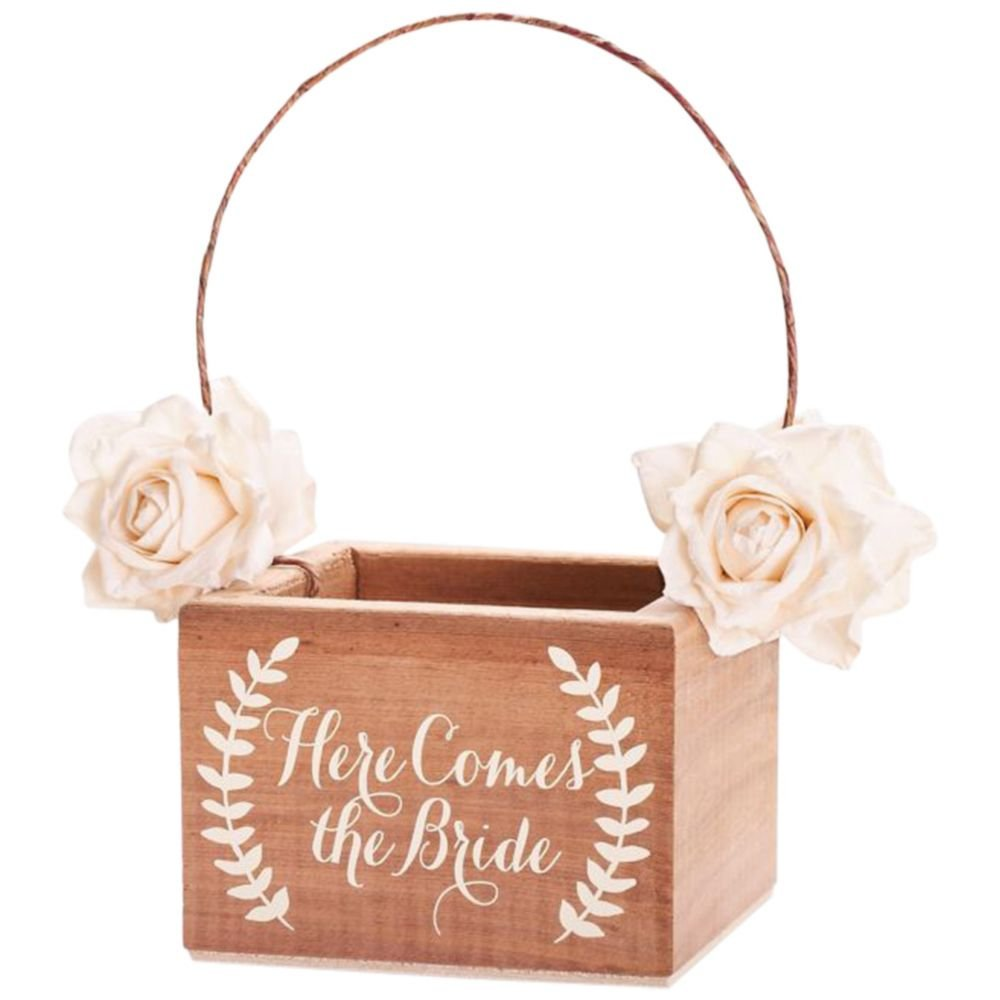 David's Bridal Here Comes the Bride Wooden Flower Girl Basket Style DB9001, Ivory