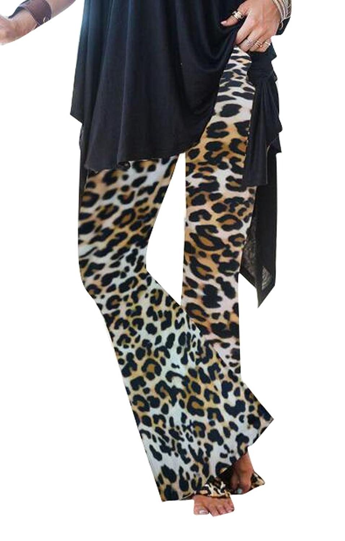 Oberora-Women High Waist Leopard Print Slim Bell-Bottom Flared Pants Trousers