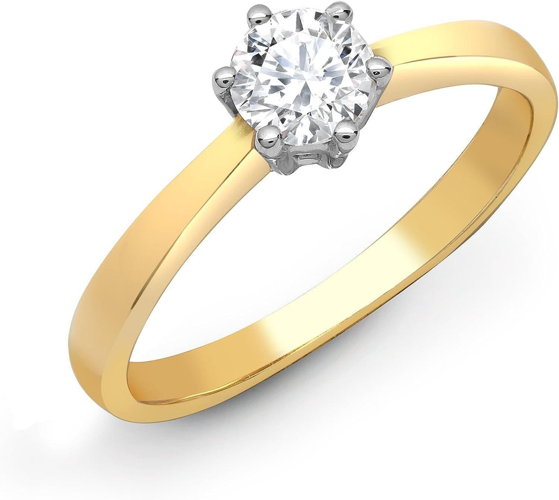 Jewelco Europa Juego de 6 garras de oro amarillo sólido de 18 quilates para mujer, redondo G SI1, 0.25 ct, diamante solitario, anillo de compromiso de 5 mm