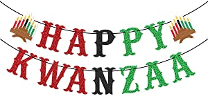 Happy Kwanzaa Banner for African Heritage Holiday Party Mantle Fireplace Home Decorations