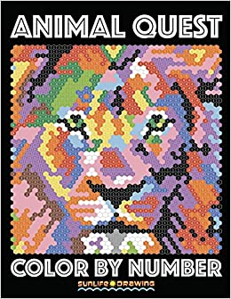 Amazon ANIMAL QUEST Color By Number Activity Puzzle Coloring Book For Adults Relaxation Stress Relief Quest Books Volume 1