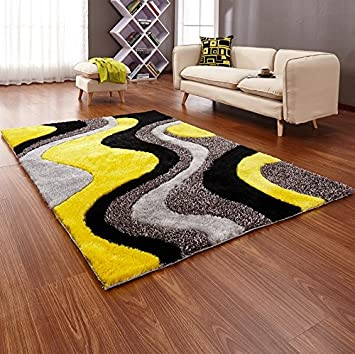 New Bright Yellow Black Silver Grey Colourful Luxurious Thick Pile