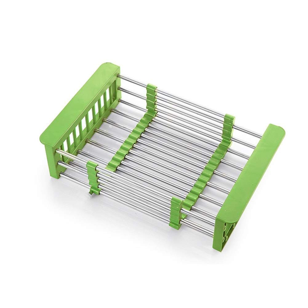 Kitchen Storage Drain Rack Sink Telescopic Waterproof Non-slip Weight Bearing Strong Household 22.5 9.4 30.5~50.5cm (Color : Green)