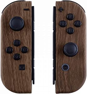 eXtremeRate Soft Touch Grip Wood Grain Joycon Handheld Controller Housing with Full Set Buttons, DIY Replacement Shell Case for Nintendo Switch Joy-Con – Console Shell NOT Included