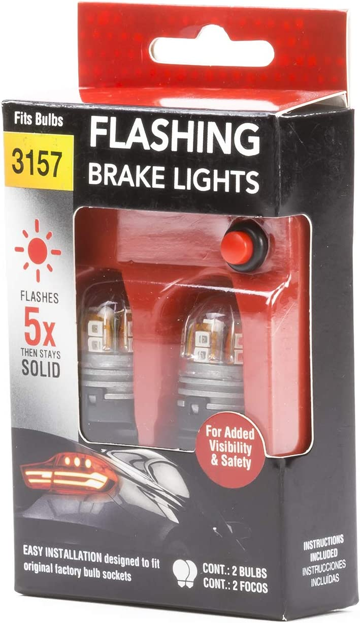 2pc // Red 1 Pack Pilot Automotive IL-3157-15RBK Flashing Brake Light Bulb