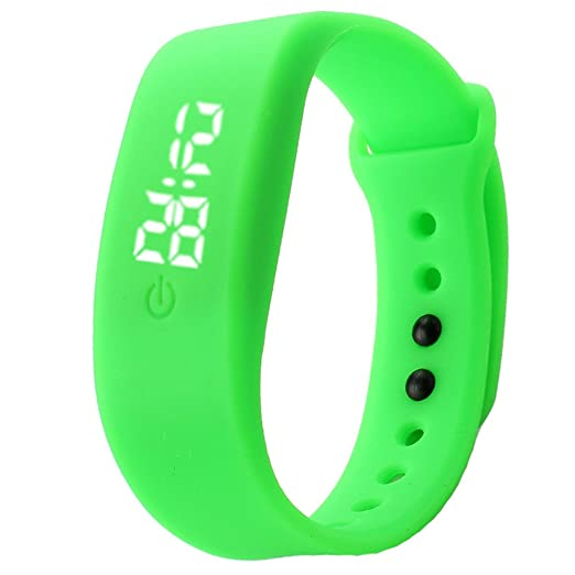 Kinlene Mujer Mens goma LED Watch Fecha Deportes reloj de pulsera digital reloj deportivo (Verde