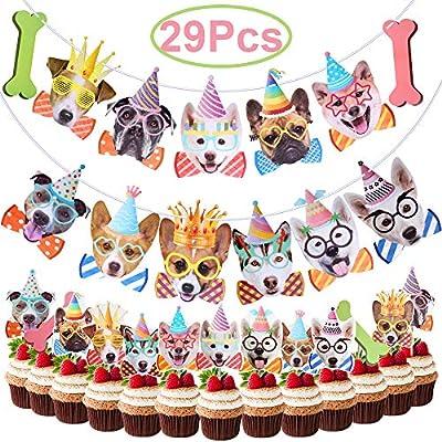 Hicdaw 29 banderines de cumpleaños para Perros, decoración ...