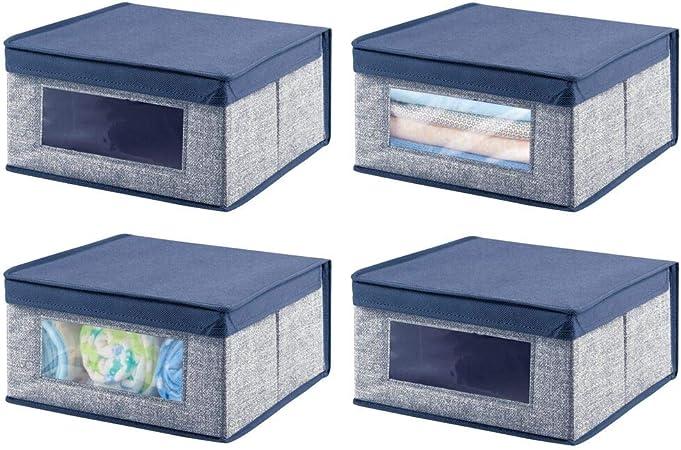mDesign Juego de 4 Cajas organizadoras de Tela – Caja de almacenaje apilable para ordenar armarios, Zapatos o Ropa – Organizador de armarios con Tapa y ventanilla – Azul Oscuro: Amazon.es: Hogar
