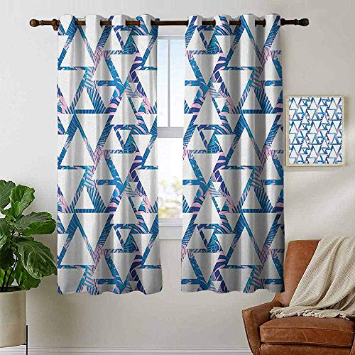 (Blackout Curtains for Bedroom Leaf,Tropical Pattern with Exotic Palm Leaves and Geometrical Triangle Shapes, Blue Pale Pink White,Darkening Grommet Window Curtain 1 Pair 42