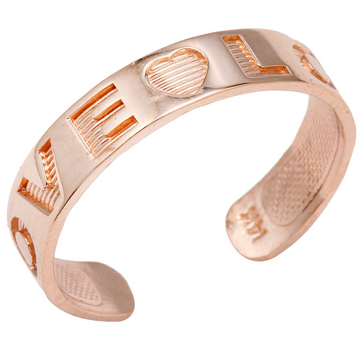 10k Rose Gold ''LOVE'' Engraved Toe Ring by More Toe Rings