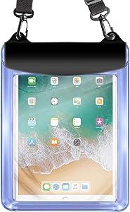 Universal Tablet Waterproof Case Pouch Dry Bag for iPad 10.2/9.7, iPad Pro 11/10.5, iPad Air, Samsung Galaxy Tab, Surface Go, Lenovo Dragon Touch Fusion5 Asus Vankyo MatrixPad Simbans LG (Blue)