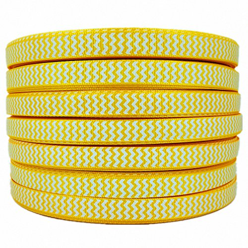 Swiss Dot Grosgrain Hair Bow - 50 Yards White Swiss Dot Printed Back To School Yellow 3/8
