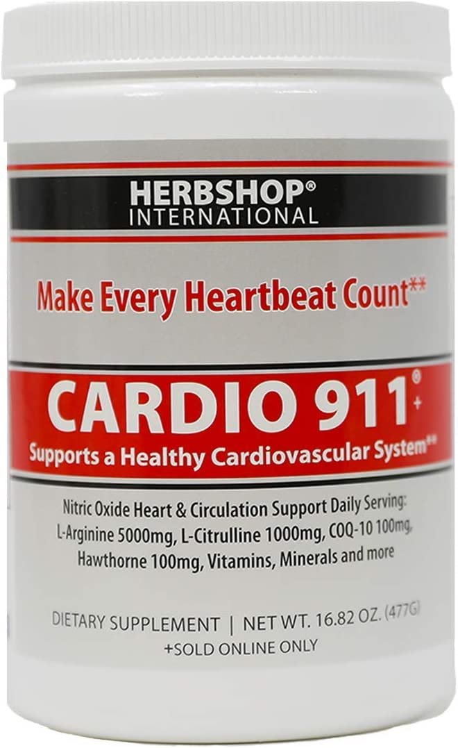 Cardio 911® Heart Health - Nitric Oxide Supplement - (16.82 Ounce Powder with Scoop) - Tart Cherry Flavor L-Arginine 5000 mg and L-Citrulline 1000 mg Combo, Pack of 1: Health & Personal Care