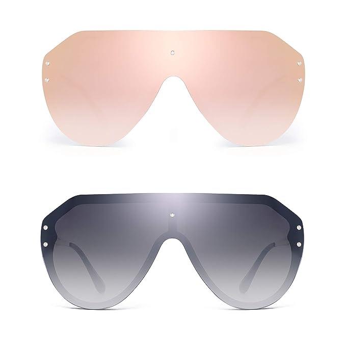 Amazon.com: JIM HALO Gafas de sol de gran tamaño, sin bordes ...