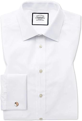 Camisa Blanca de Popelina de algodón Egipcio Slim fit: Amazon.es ...