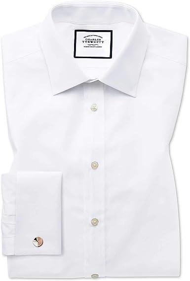 Camisa Blanca de Popelina de algodón Egipcio Slim fit: Amazon.es: Ropa y accesorios