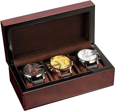 HYEBOX Retro Caja de Reloj de Madera Maciza 3 Relojes Organizador Estuche de Almacenamiento con compartimientos Caja de exhibición de joyería con Tapa Pastillas extraíbles para Hombres o Mujeres: Amazon.es: Hogar