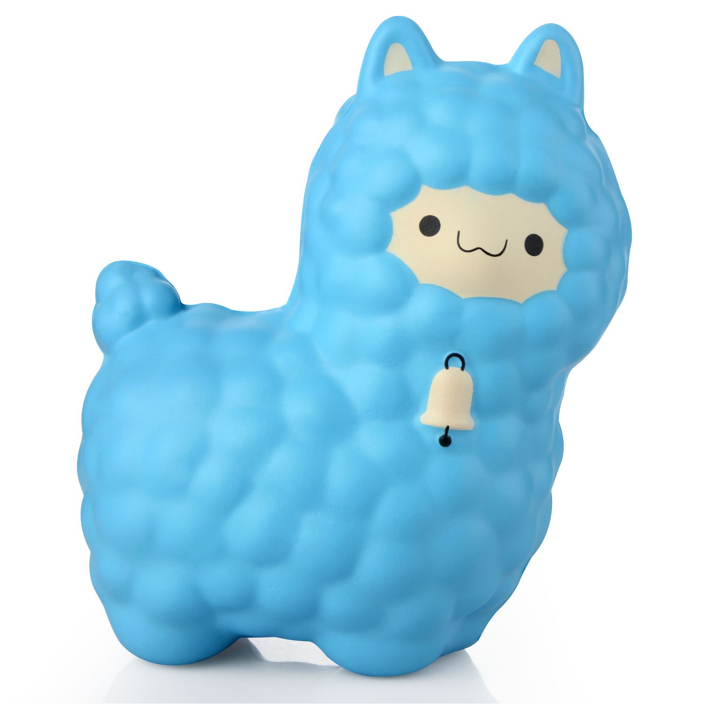 Squishy Cute Alpaca Jumbo Sheep Super Slow Rising Scented Fun Animal Toys (Blue)