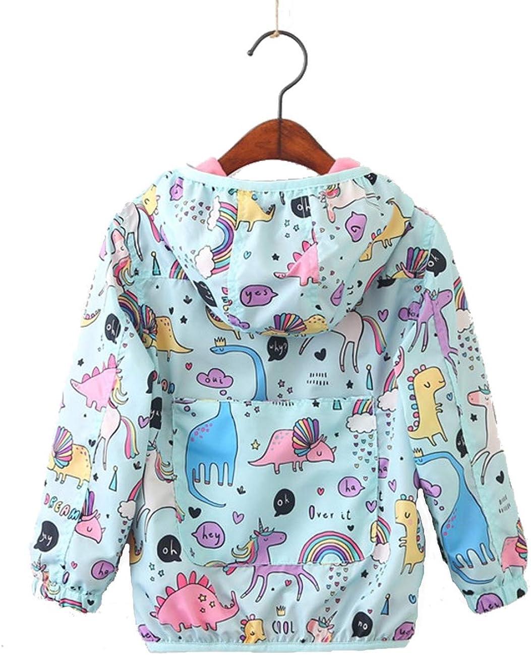 Kids Unicorn Printed Dinosaur Hoodies Jackets Cartoon Coat for Children