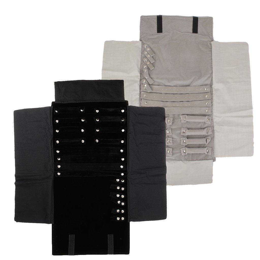 MonkeyJack 2 Pieces Black Gray Fashion Portable Jewelry Storage Case Travel Roll Up Bag Pouch Jewelry