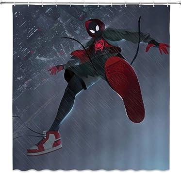 Spider Man Waterproof Fabric Shower Curtain Cartoon Bathroom Curtain 70x70 Inch