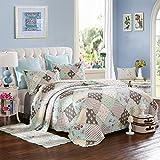 Dodou European Style Quilt Boho Bedding Set Summer Comforter Full/Queen Size Air Conditioning Quilt Blanket 3pcs
