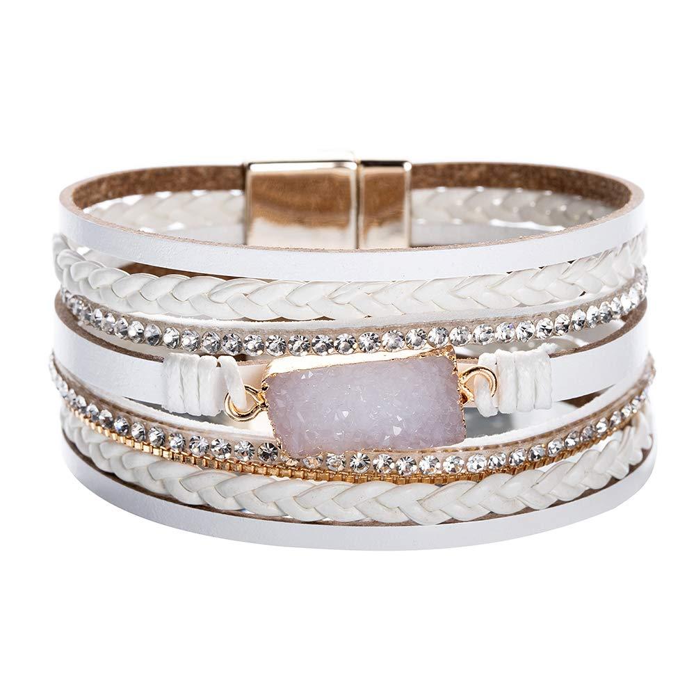 Vercret Leather Wrap Bracelet for Women - Multi-Layer Bracelets for Girl, Ideal Gift White druzy for Women, Sister, Mom(White druzy) by Vercret